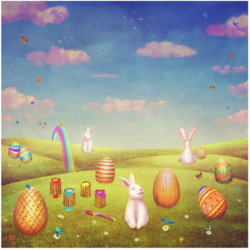 Easter Theme 10x10ft Vinyl Photography Background Cartoon Fairytale Outdoor Hillside Rainbow Easter Eggs Cute Rabbits Backdrop Easter Egg Hunt Day Banner Greeting Card Child Baby Shoot