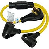 Conntek RV Y Adatper Cord with 50 Amp Male Plug To (2) 30 Amp RV Female Connector (3-Feet)