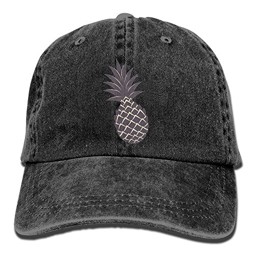 Pineapple Stylish  Unisex Twill Cotton Baseball Cap Vintage Adjustable Dad Hat Black
