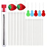 40 Pieces Beading Needles in Storage Tube,with 5 Pcs Bead Needle Threader and 2 Pcs Strawberry Shape Sewing Needle Inserting Holder Pin Cushion