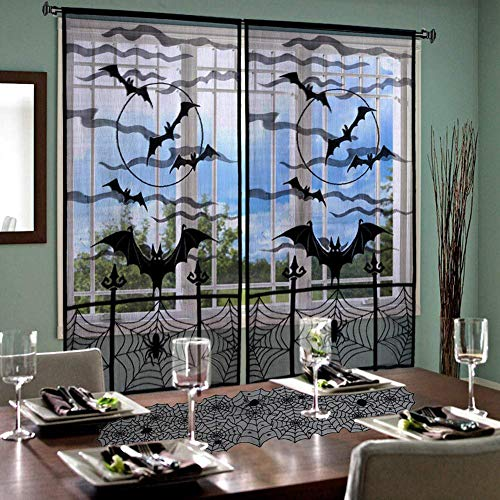 Monadicase Halloween Decoration Black Lace Window Curtain, Spooky Bats and Spider Web Door Curtain, and Black Lace Table Runner Overlay with Spider Web, for Home Party Decor ()