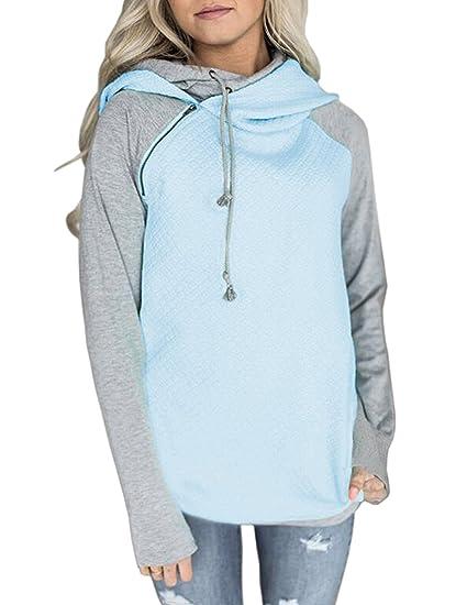 Damen Pullover Pulli Langarm Elegant Herbst Winter Hoodie Kapuzenpullover  Kapuzenpulli Hipster Rollkragen Mode Casual Sweatshirt Top Kontrastfarbe ... f12656e3d5