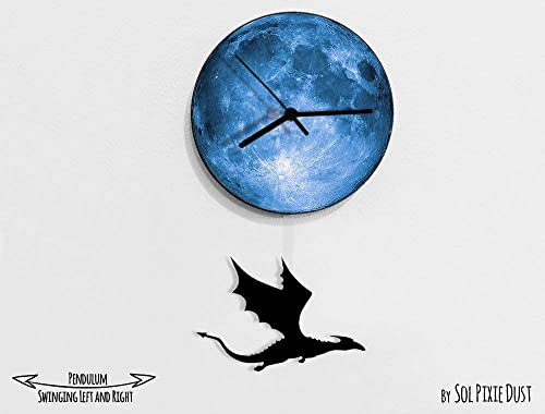 Dragon Swinging on the moon – Mother of Dragons – Pendulum Wall Clock