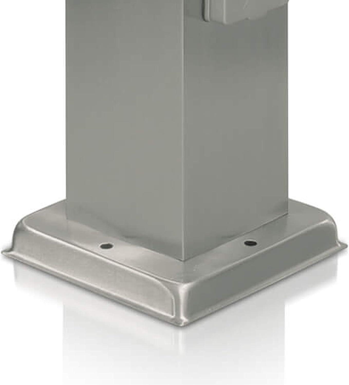 LED Universum Wegeleuchte mit 2 Steckdosen 80cm Edelstahl Außenleuchte Stehleuchte Energiesäule Stromsäule Stromverteiler für den Garten Gartensteckdose (edelstahl ohne Dämmerungssensor) Edelstahl mit Dämmerungssensor