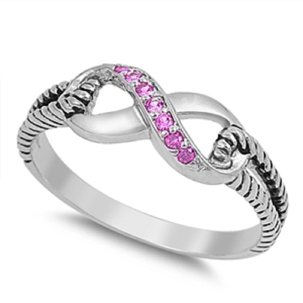 CloseoutWarehouse Pink Cubic Zirconia Cubic Zirconia Adoration Infinity Ring Sterling Silver Size 7
