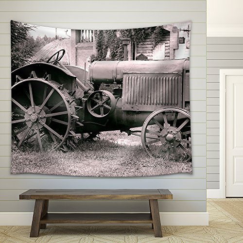 wall26 - Old Tractor with Iron Wheels is Thrown on a Roadside - Fabric Wall Tapestry Home Decor - 68x80 inches