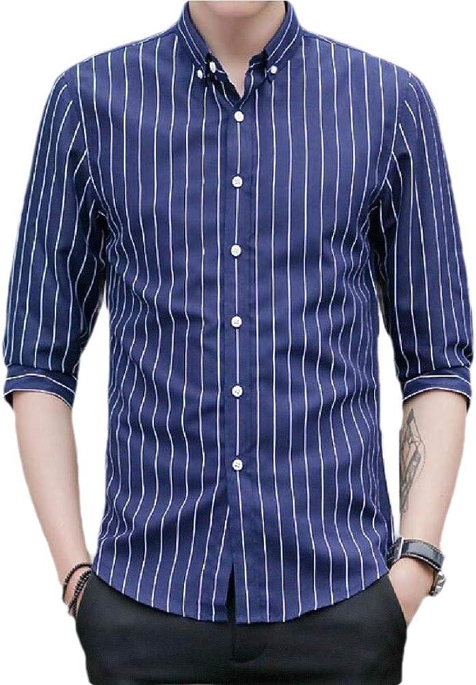 H&E - Camisa de vestir para hombre, diseño de rayas, manga 3/4 Azul azul marino XX-Small: Amazon.es: Ropa y accesorios