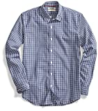 Goodthreads Men's Standard-Fit Long-Sleeve Summertime Gingham Shirt, Navy/White, Large