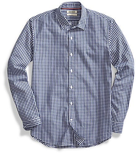 Goodthreads Men's Standard-Fit Long-Sleeve Gingham Plaid Poplin Shirt, Navy/White Micro Check, Medium
