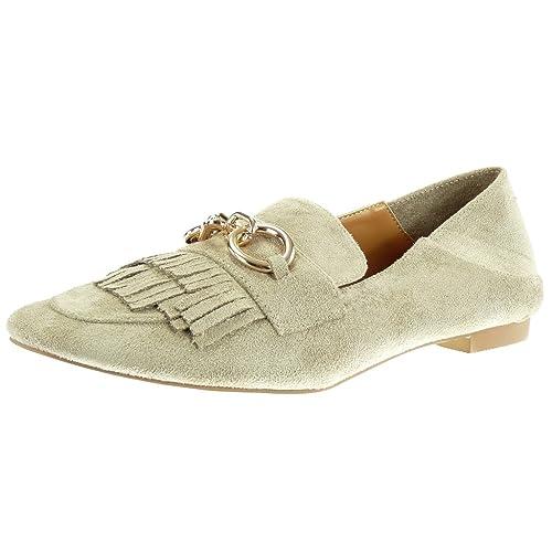 Angkorly Zapatillas Moda Mocasines Slip-on Mujer Fleco Cadena Dorado Tacón Ancho 1 cm: Amazon.es: Zapatos y complementos