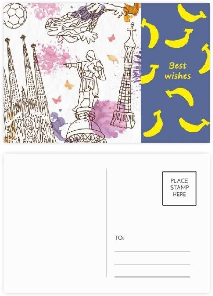 Postal de la Catedral de Barcelona con estatua de fútbol de España con diseño de plátano, 20 unidades: Amazon.es: Oficina y papelería