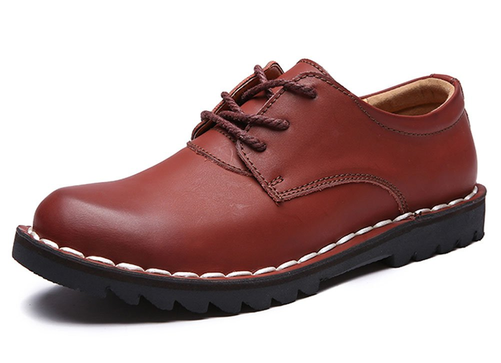 Youxuan Classic Men's Flat Work Shoe Leather Tide Fan Slip Resistant Walking Shoe Red-brown 7.5M US
