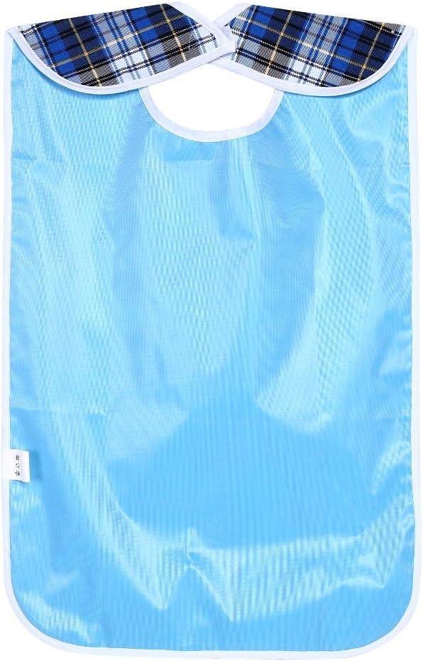 bavoir protecteur de v/êtements imperm/éables pour repas avec receveur de nourriture pour personnes /âg/ées handicap/ée Bleu Bavoir adulte