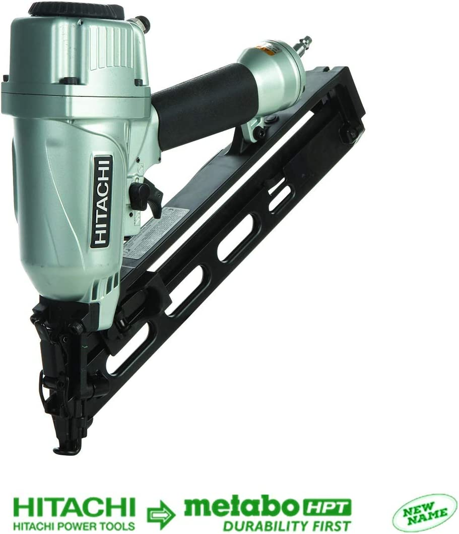 Hitachi NT65MA4 1-1 4 Inch to 2-1 2 Inch 15-Gauge Angled Finish Nailer with Air Duster