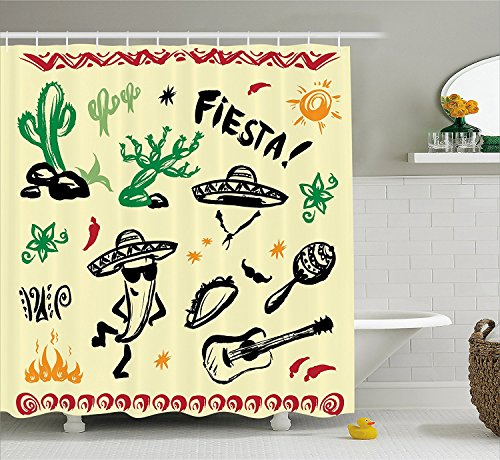 [Mexican Decorations Shower Curtain Popular Hispanic Objects with Fiesta Taco Guitar Cactus Plant Nachos Print Fabric Bathroom Decor Set with Hooks] (Hispanic Halloween Costumes)