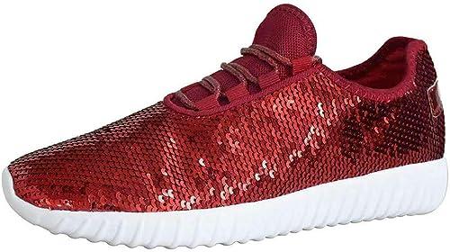 Women Cute Sequin Glitter Sneakers Lightweight Trainer Shoes Walking Athletic