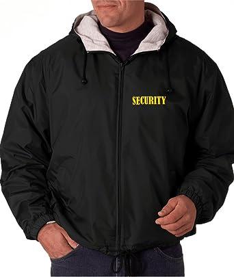 8de625a0e Security Black Hooded Jacket Windbreaker Fleece-Lined for Events ...