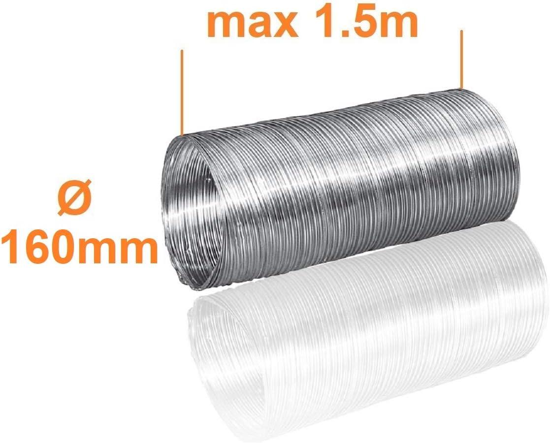 /Ø 160mm L/änge 3m Alu Flexrohr Alurohr Flexschlauch Schlauch Aluflexschlauch Flex-Schlauch L/üftungsrohr