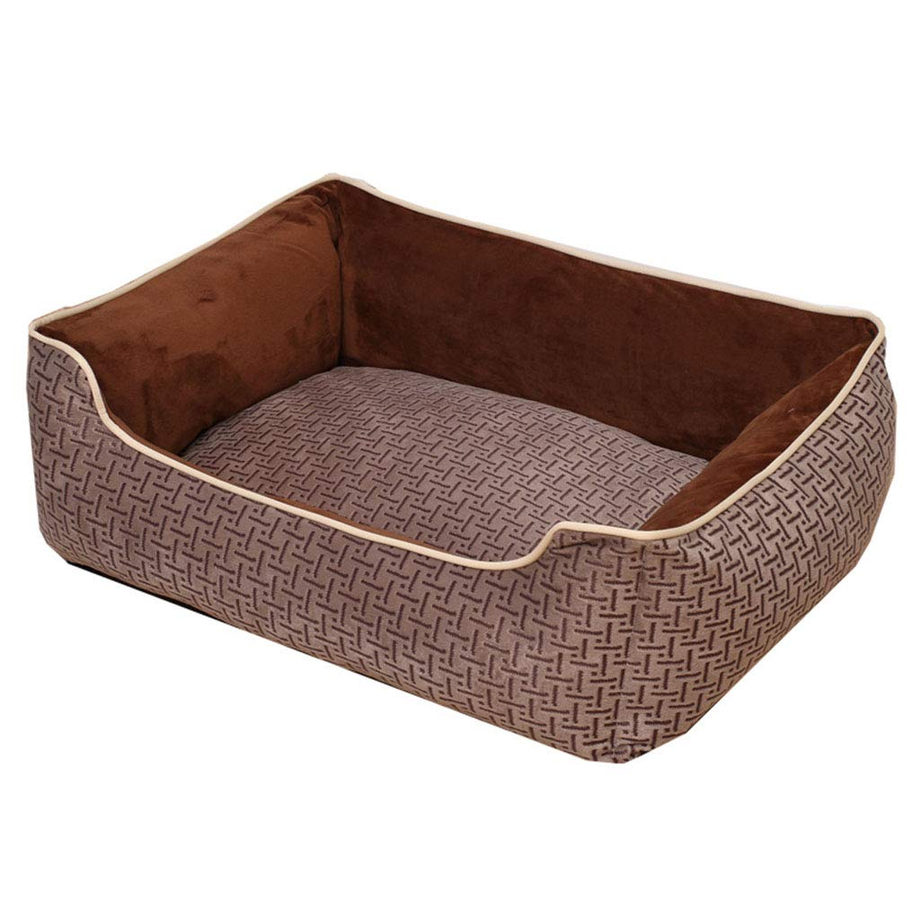 BROWN M 655218 BROWN M 655218 HuaHong Dog Kennel, Removable and Washable Pet Products Cat Sofa Mattress (color   BROWN, Size   M 65  52  18)