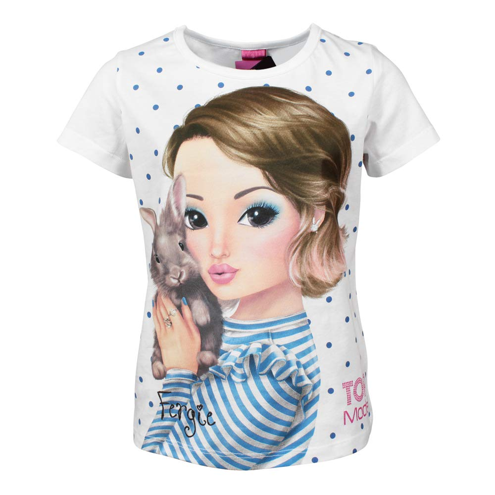 TOP MODEL Ragazze Maglietta Bianco T-Shirt