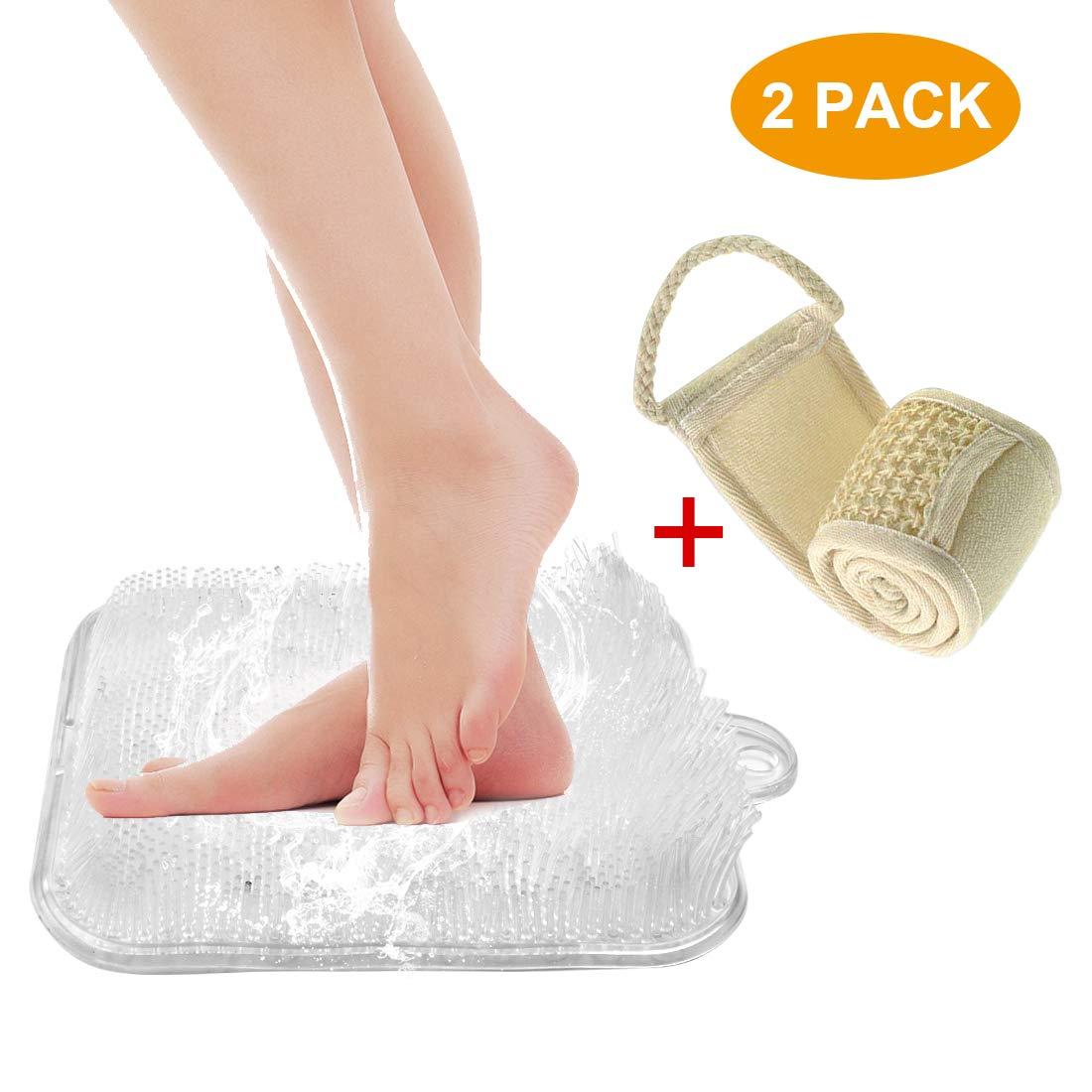 Dusche Fuß Scrubber Massagegerät Reiniger und Akupressurmatte für Dusche Boden mit Saugnapf - Verbessert Fußzirkulation und reduziert Fußschmerzen (kostenlose Geschenk zurück Scrubber) Kesi