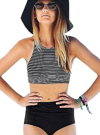55254d8440 Amazon.com  GEEK LIGHTING Women Girls 2 Piece Swimsuits High Waisted Bathing  Suits Bikini Set  Clothing