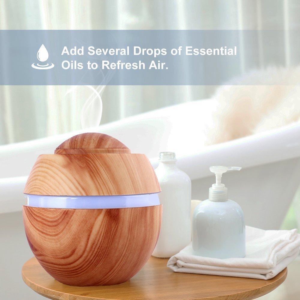 SPA Ofiice Yoga Leichte Holzmaserung DINOWIN 400ML Aroma Diffusoren Holzmaserung Luftbefeuchter Aromatherapie Luftbefeuchter f/ür Schlafzimmer