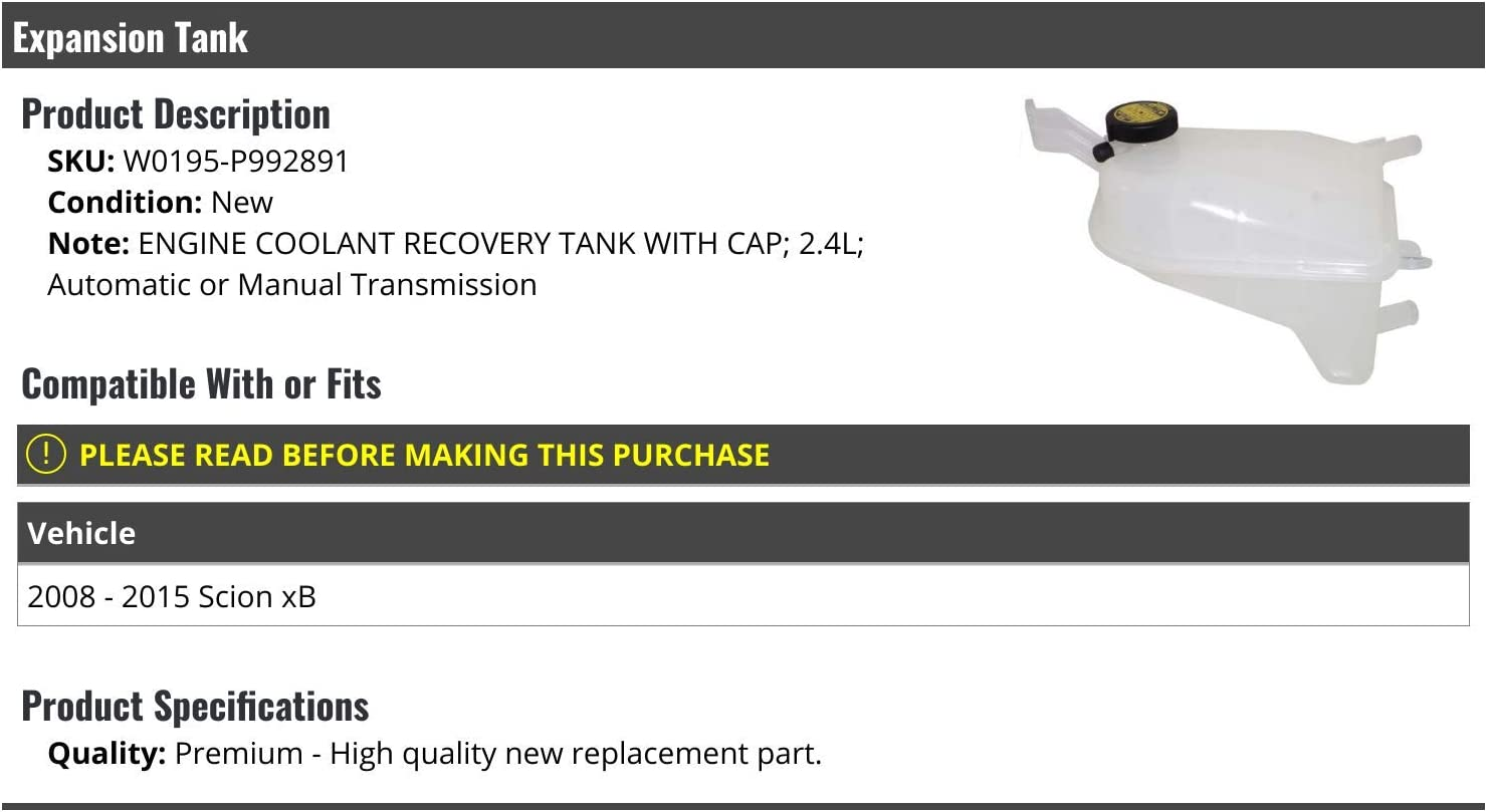 Compatible with 2008-2015 Scion xB Radiator Coolant Overflow Expansion Tank with Cap