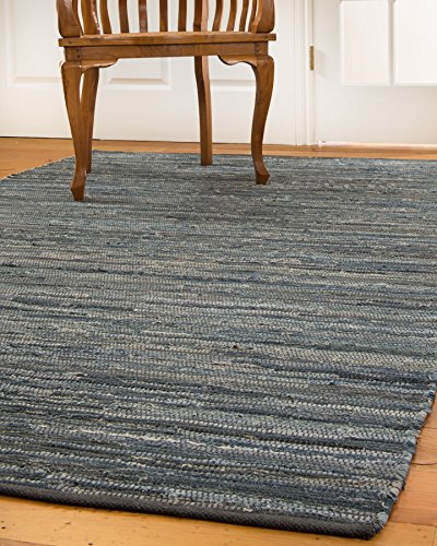 Denim 8x10 Area (NaturalAreaRugs Montero Collection Cotton Area Rug, Handmade, 90% Leather and 10% Cotton, Anti-Static, Durable, Stain Resistant, Eco/Environment-Friendly, (8 Feet x 10 Feet) Denim)