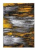 Masada Rugs, Modern Contemporary Area Rug, Yellow Grey Black (8 Feet X 10 Feet)