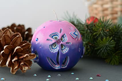 carved handmade paraffin decorative christmas ball candle holiday decor ideas