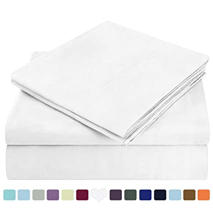e58762c34c971b Amazon.com: HOMEIDEAS Bed Sheets Set Extra Soft Brushed Microfiber 1800  Bedding Sheets - Deep Pocket, Hypoallergenic, Wrinkle & Fade Free - 4  Piece(Queen ...