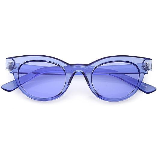 14e4fd7529dd3 sunglassLA - Women s Transparent Cat Eye Sunglasses Horn Rimmed Color  Tinted Round Lens 47mm (Blue