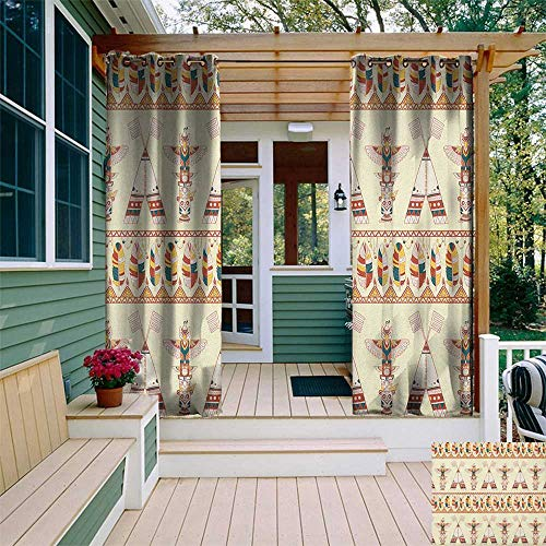 leinuoyi Native American, Outdoor Curtain Extra Wide, Colorful Native American Ethnic Indigenous Motifs with Feather Totem Poles, Fabric W120 x L96 Inch -