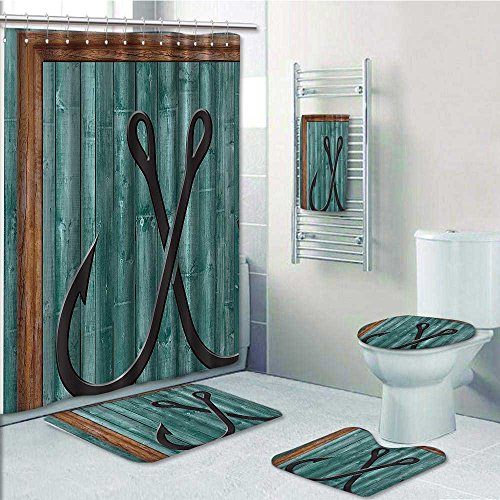 PRUNUS 5 Piece Bath Rug Set,Fishing Lures Nautical Anchor Modern Abstract Painting Symbol Wooden Frame Rustic Vint Print bathroom rugs shower curtain/rings and Both Towels ()