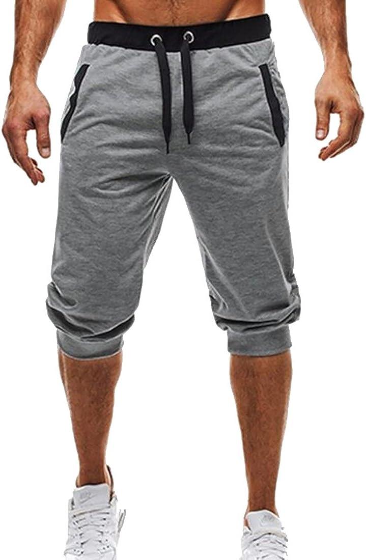 OTW Mens Striped Active Casual Elastic Waist Drawstring Gym Shorts
