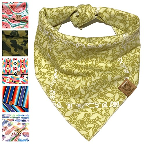 Bandana Leaves Dog - Bark.Bark.Goose. Medium Light Green Leaf and Flower Dog Bandana
