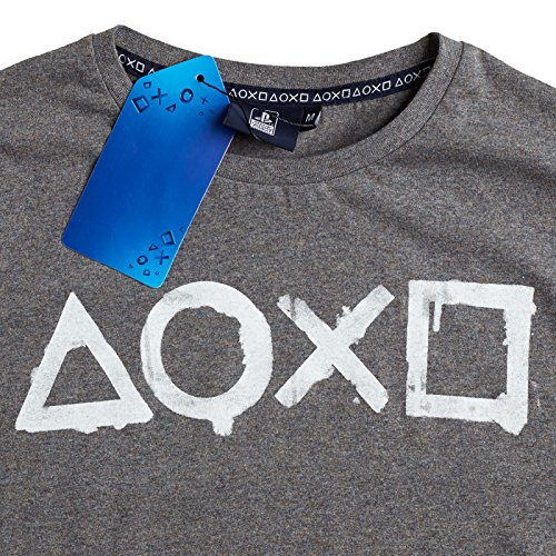 PlayStation Herren T-Shirt Controller Action Buttons grau - XXL