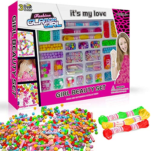 3 Bees & Me Complete Bracelet Making Kit for Girls - Bead Jewelry Making Kit for 6 7 8 9 Years - Kits Bead Kids