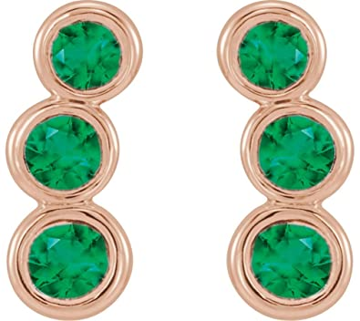 46ffb050f Image Unavailable. Image not available for. Color: Chatham Created Emerald  Three-Stone Ear Climbers ...