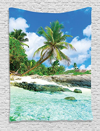Ambesonne Seaside Decor Collection, Scene Rocks Palms shades jungle honeymoon islands remote resort leisure, Bedroom Living Room Dorm Wall Hanging Tapestry, Teal Green Blue