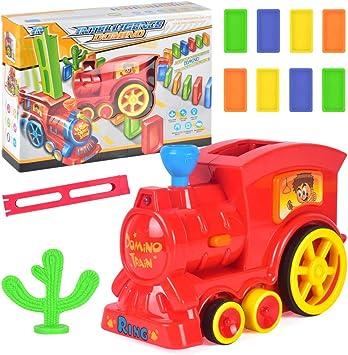 barsku Juego de Juguetes Domino Train Game, Juguete Colorido de apilamiento de Trenes, Modelo de Tren eléctrico con luz y Sonido: Amazon.es: Juguetes y juegos