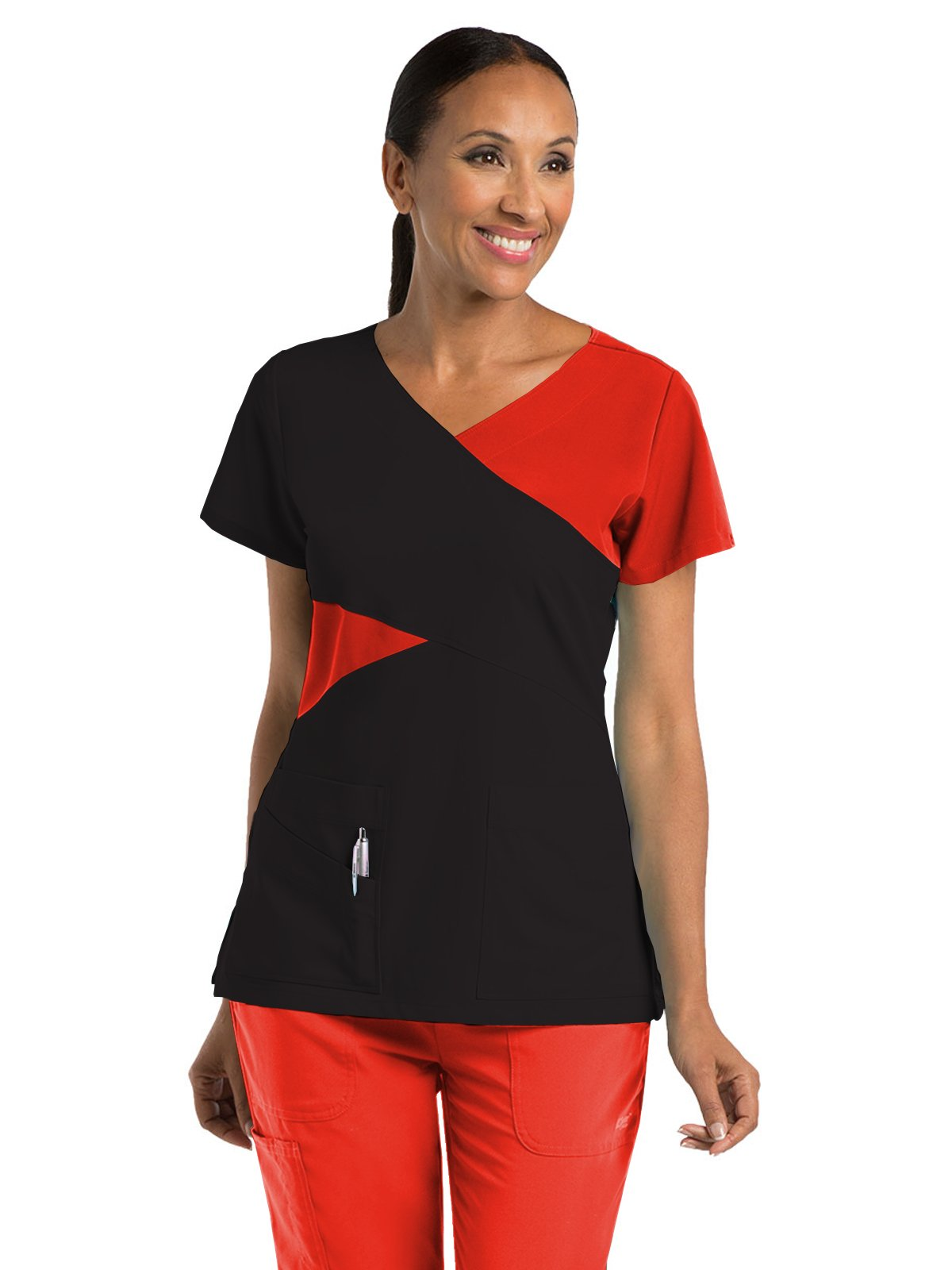 Grey's Anatomy Signature 2140 Contrast Mock Wrap Top Black/Red Orchid XL