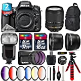 Holiday Saving Bundle for D610 DSLR Camera + 18-140mm VR Lens + Flash with LCD Display + 2.2x Telephoto Lens + 0.43x Wide Angle Lens + 6PC Graduated Color Filer Set - International Version
