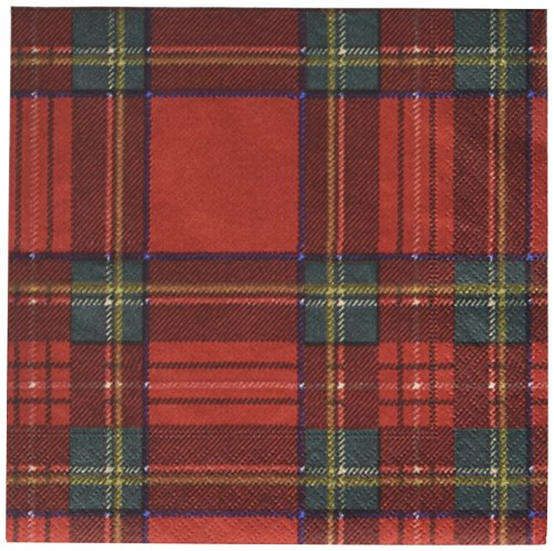 Entertaining with Caspari Royal Plaid Luncheon Napkins, Red, (Pack of -