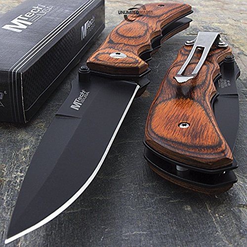 7.75'' MTECH USA RED WOOD SPRING ASSISTED FOLDING POCKET KNIFE Blade Open Assist by Only US by Only US