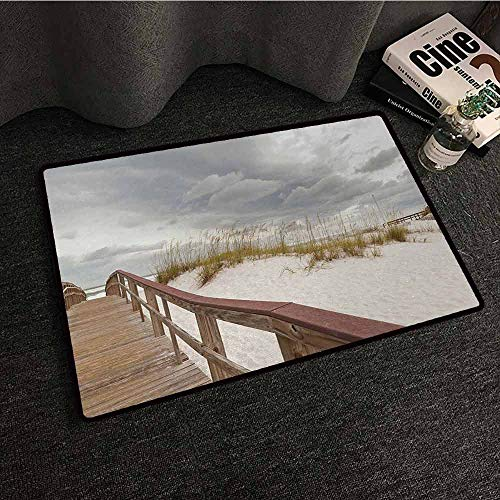 (Floor mats for Kids Beach,Footpath Through Sand Tropic Gulf Island National Seashore Florida Plants Landscape,Grey Cream,W16 xL24 Rubber)