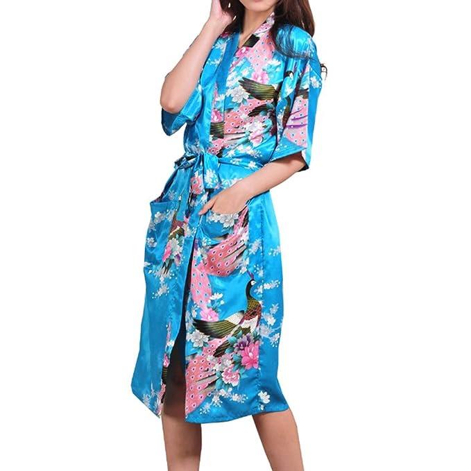 Zhien Inicio Vestidos para Mujer Stain Kimono Albornoz Batas Sexy Babydoll Floral Camisón Lake Blue L: Amazon.es: Ropa y accesorios