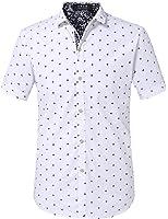 SSLR Herren Freizeit Straight Fit Printing Casual Kurzarm Hemd