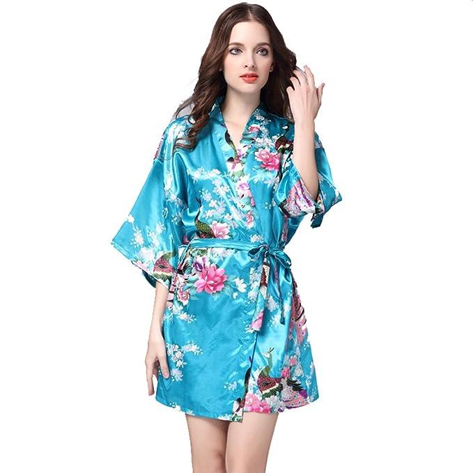 SunRise Women s Short Kimono Robe Peacock Design (M 81c234b41
